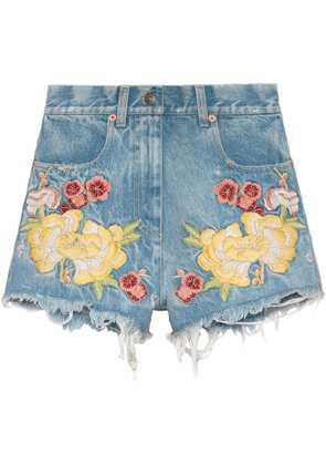 Gucci Embroidered denim shorts - Blue