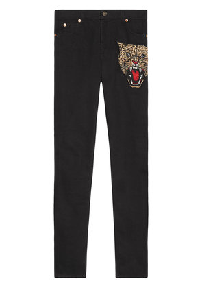 Gucci Angry cat embroidered denim pant - Black