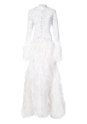 Jonathan Simkhai cut out feather gown - White