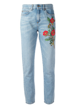 Gucci embroidered flower jeans - Blue