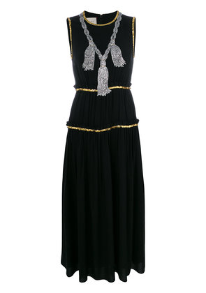 Gucci embellished pleated maxi dress - Black