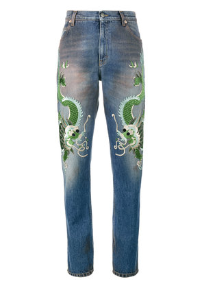 Gucci embroidered dragon jeans - Blue