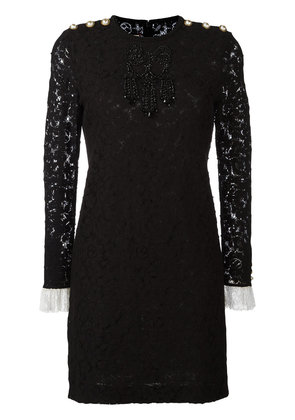 Gucci bead embroidered lace dress - Black