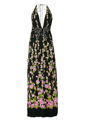 Gucci Climbing Roses print bow embellished gown - Black