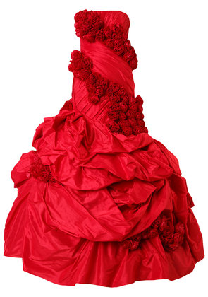 Rubin Singer rose applique gown - Red