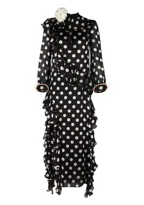 Gucci ruffled polka dot gown - Black