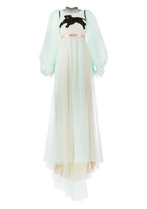 Gucci panther embroidered tulle gown - Green