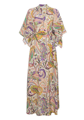 Etro floral printed silk maxi dress - White