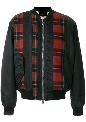 3.1 Phillip Lim plaid-panel bomber jacket - Blue