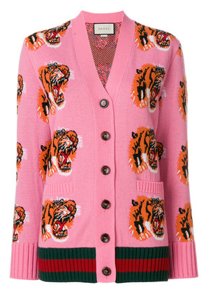 Gucci Tiger Face embroidered cardigan - Pink & Purple