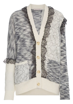 Christopher Kane patchwork lace trim cardigan - White