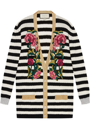 Gucci Embroidered oversized cardigan - Black