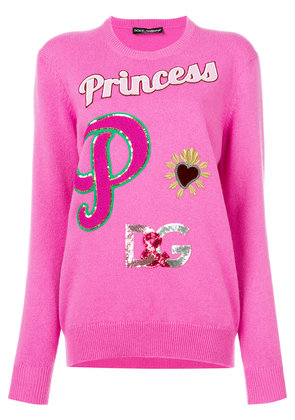 Dolce & Gabbana Princess patch jumper - Pink & Purple