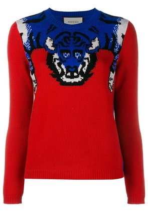 Gucci tiger knit jumper - Red