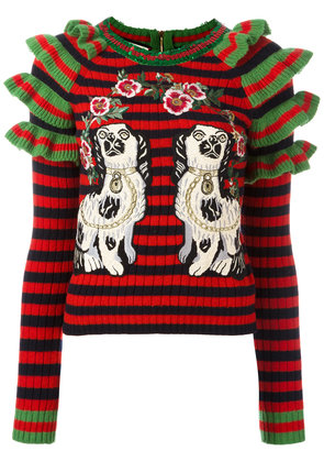 Gucci embroidered striped knitted jumper - Multicolour