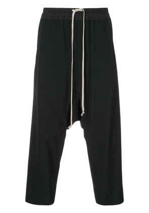 Rick Owens drop-crotch cropped trousers - Black