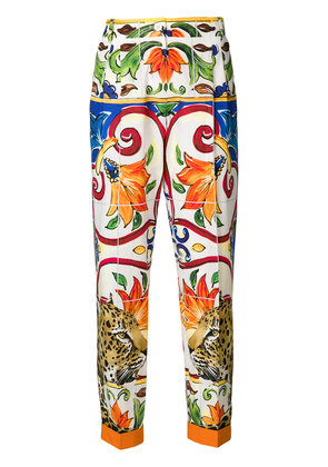 Dolce & Gabbana leopard print cropped trousers - Multicolour