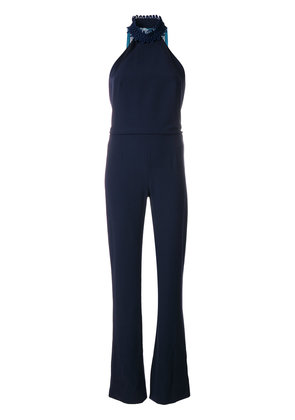 Galvan Rio jumpsuit with fringe back - Blue