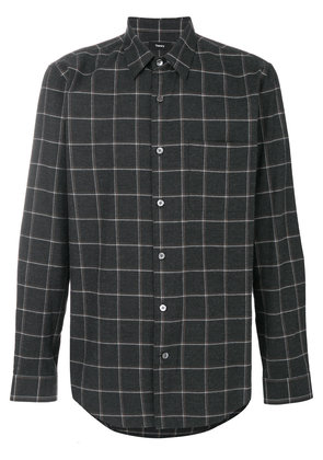 Theory relaxed flannel grid shirt - Grey