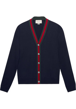 Gucci Wool cardigan with Web - Blue