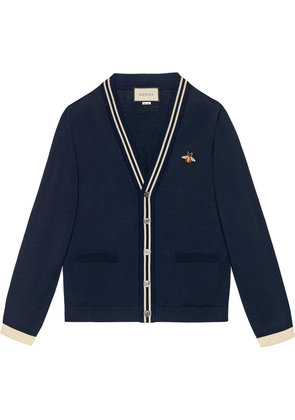 Gucci Cardigan wool knit with bee - Blue