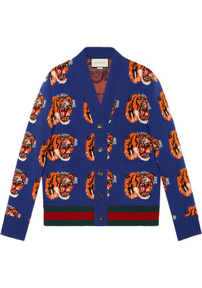 Gucci Tiger jacquard wool cardigan - Blue
