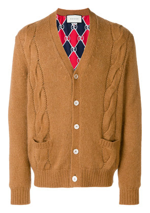 Gucci cable-knit cardigan - Brown