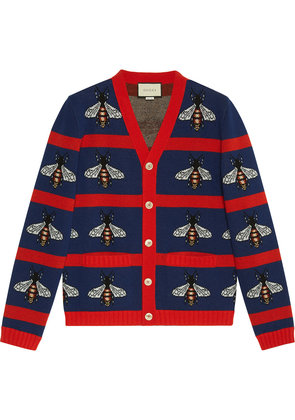 Gucci Bee jacquard wool cardigan - Blue