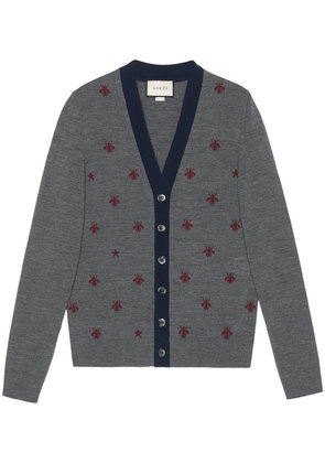 Gucci Wool cardigan with bees and stars - Grey