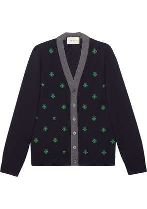 Gucci Embroidered bee cardigan - Blue