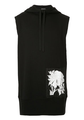 Ann Demeulemeester floral embroidered sleeveless hoodie - Black