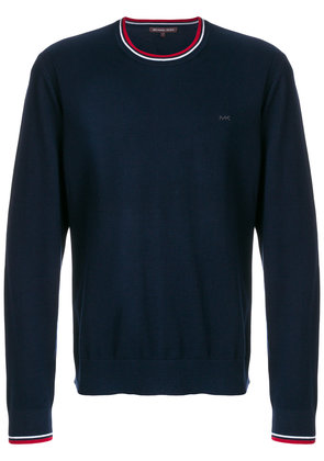 Michael Michael Kors contrast-trim crew neck sweater - Blue