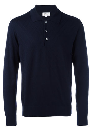 Brioni embossed zig zag polo shirt - Blue