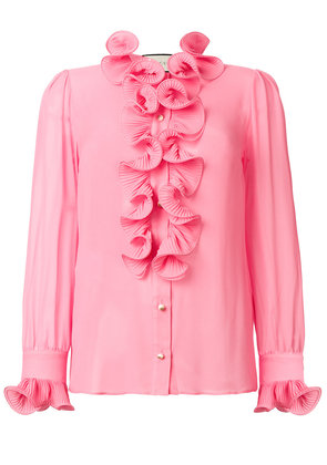 Gucci frill embroidered blouse - Pink & Purple