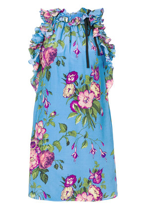 Gucci floral print tunic top - Blue