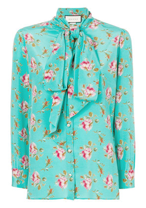Gucci Rose print silk shirt - Green