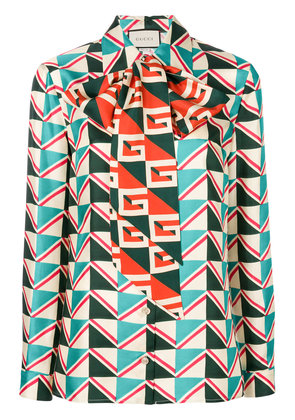 Gucci geometric print blouse with pussy bow - Multicolour