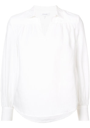 Frame Denim collared long sleeve blouse - White