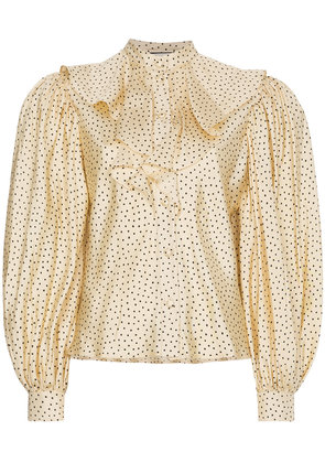Gucci Silk polka dot ruffle puff sleeve blouse - Nude & Neutrals
