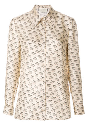 Gucci Invite Stamp long-sleeve blouse - Nude & Neutrals