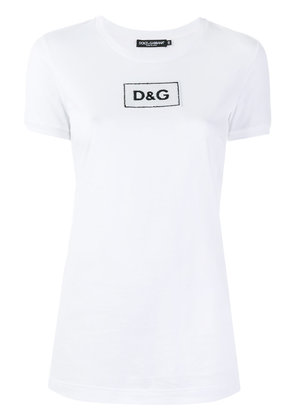 Dolce & Gabbana sequin logo patch T-shirt - White