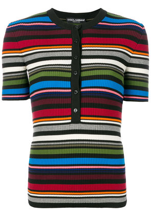 Dolce & Gabbana striped ribbed Henley top - Multicolour