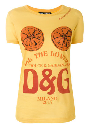 Dolce & Gabbana All The Lovers print T-shirt - Yellow & Orange