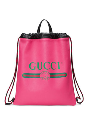 Gucci Gucci Print leather drawstring backpack - Pink & Purple