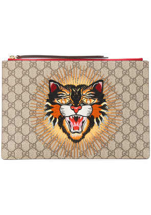 Gucci angry cat GG supreme pouch - Nude & Neutrals