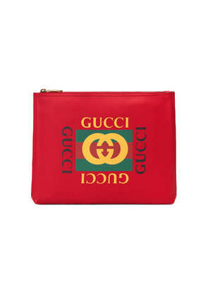 Gucci Gucci Print leather medium portfolio - Red