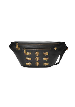 Gucci Leather belt bag with animal studs - Black