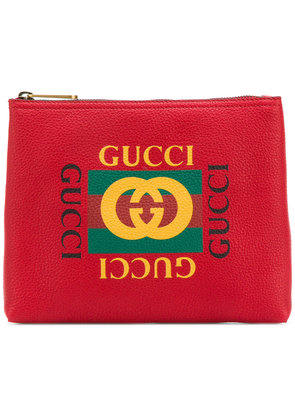 Gucci logo print clutch - Red