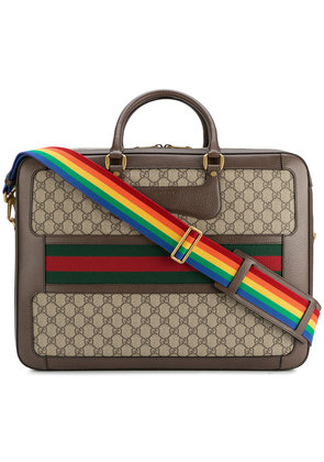 Gucci Leather Rainbow Strap GG Briefcase - Brown