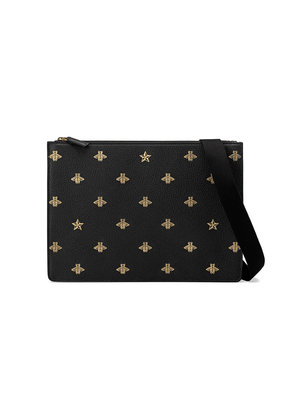 Gucci Bee Star leather messenger - Black
